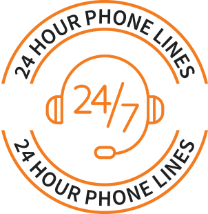 24-hour phone lines icon
