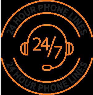 24-hour phone lines icon
